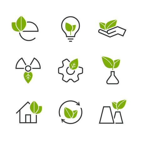 balanza de laboratorio: Ecología mitad de colores conjunto de iconos vectoriales - hojas de color verde, palma, bulbo, rueda, casa, planta, brote y otros símbolos