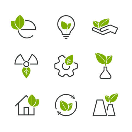 wheel house: Ecology half colored vector icon set - green leaves, palm, bulb, wheel, house, plant, sprout and others symbols