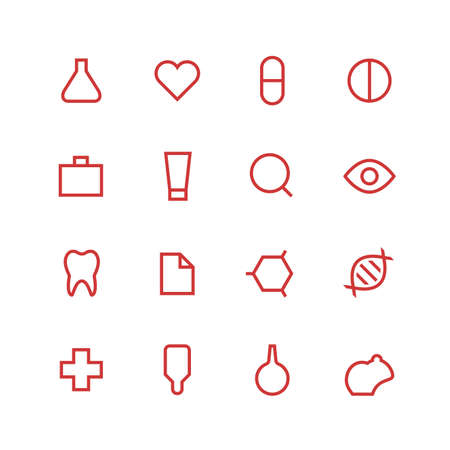 oculist: Medical and laboratory icon set - minimalist. Different symbols on the white background.