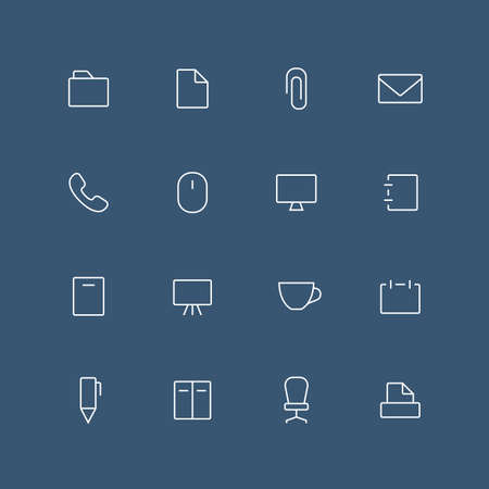 set symbols: Office thin outline icon set with rounded corners - different symbols on the dark background Illustration