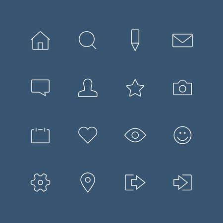 position d amour: Réseau social contour mince icon set avec des coins arrondis - différents symboles sur le fond sombre