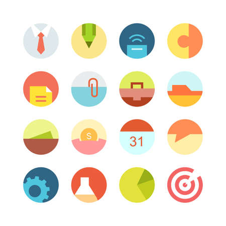 file clerk: Flat macro business vector icon set - different bright symbols on the colored background Illustration