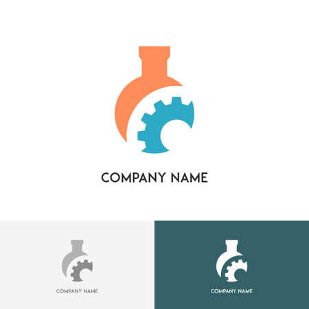 Technological and research logo - colored test tube and gear on the white background Logo