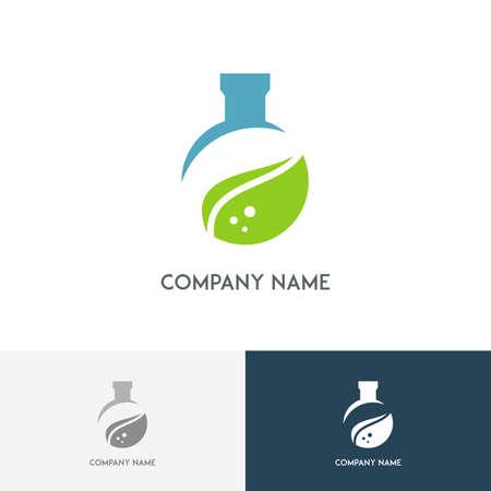 balanza de laboratorio: logotipo de laboratorio de Ecología - tubo de ensayo de color con la hoja verde fresca en el fondo blanco