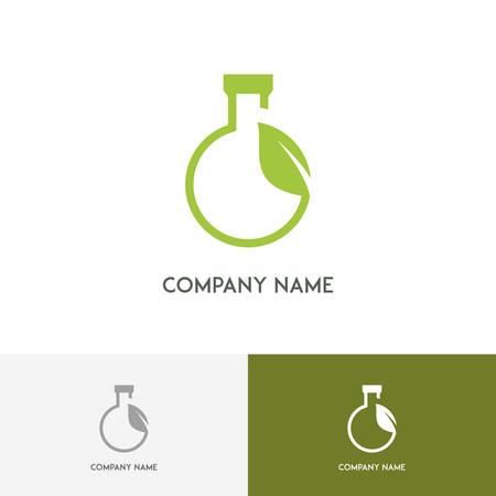 balanza de laboratorio: logotipo de laboratorio de Ecología - tubo de ensayo y brote verde fresco en el fondo blanco Vectores