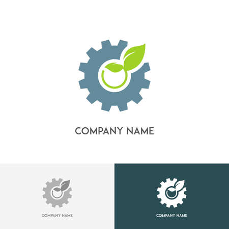 spring balance: Ecology and industry logo - gear wheel and fresh green sprout on the white background