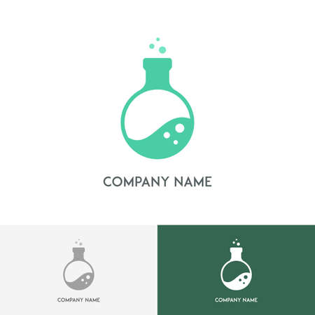 boiling tube: Science laboratory logo with rounded corners - test tube with bubbles on the white background Illustration