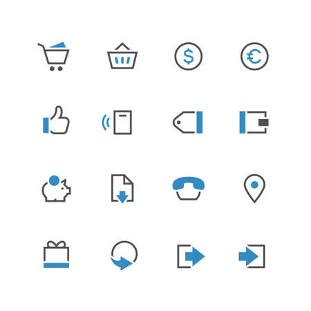 log out: Business vector icon set 2 - different blue and grey symbols on the white background