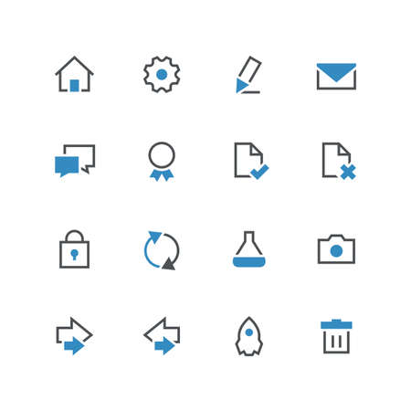 Business vector icon set 3 - different blue and grey symbols on the white background