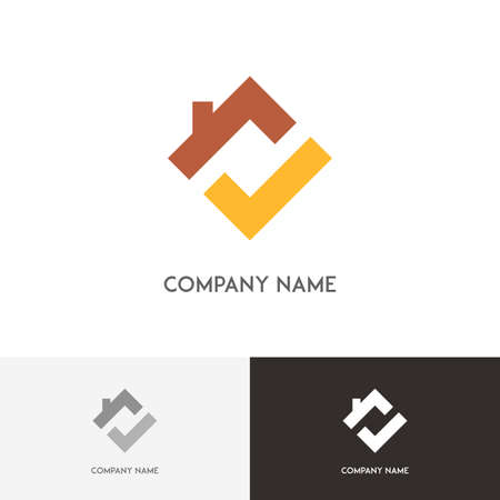 stovepipe: Real estate logo - house with chimney on the roof and check mark symbol on the white background