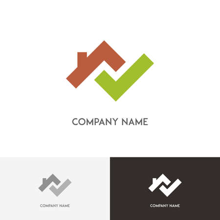 green check mark: Real estate logo - house with chimney on the roof and green check mark on the white background