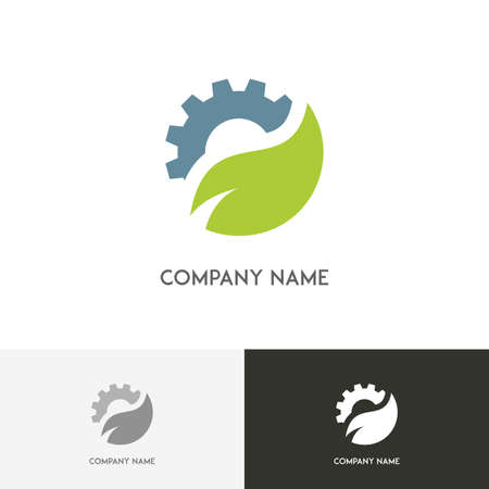 spring balance: Ecology and industry logo - gear wheel and fresh green leaf on the white background