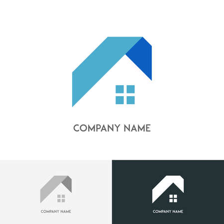 Real estate logo - house or home with window and roof on the white background