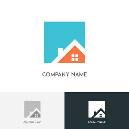 Nieruchomości logo - dom lub dom z okno i komin na dachu na białym tle