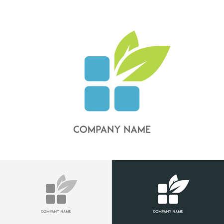 Nature logo - blue bricks and fresh green leaves on the white background Illustration