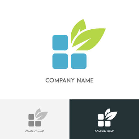 Nature logo - blue bricks and fresh green leaves on the white background Иллюстрация