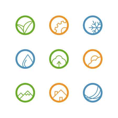 agro: Round vector outline icon set - leaves, gear, drop, snowflake, tree, weather, mountains, house and waves