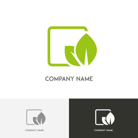 agro: Nature logo - fresh green leaves in the cell on the white background Illustration