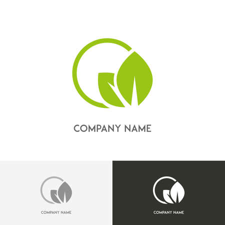Nature logo - fresh green leaves in the round on the white background Vettoriali