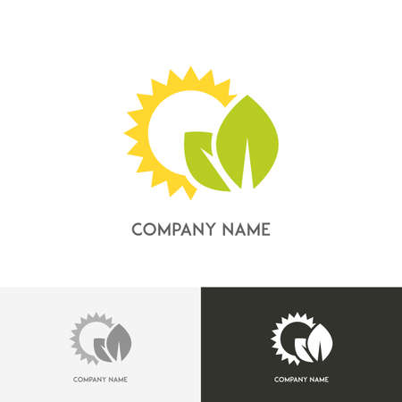 agro: Nature logo - fresh green leaves and the sun on the white background Illustration