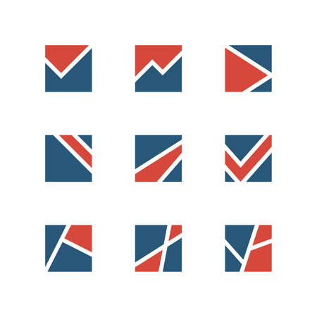 simple logo: Simple vector logo set - different design elements made of shapes and lines on the white background Illustration