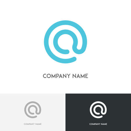 simple logo: Email logo - blue simple symbol on the white background