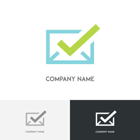 green check mark: Mail logo - simple blue envelope with green check mark on the white background Illustration