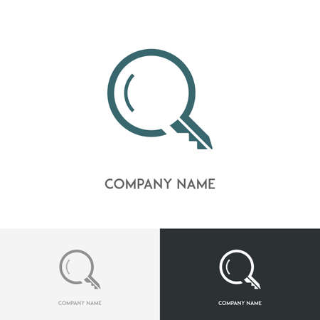 lupa: Real estate logo - search magnifier and key symbol on the white background Illustration
