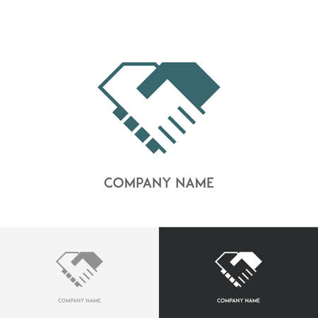 simple logo: Handshake logo - business partners shake hands with each other simple symbol on the white background