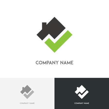 Immobilien logo - Haus mit Kamin auf dem Dach und überprüfen Symbolmarkierung Platz auf dem weißen Hintergrund Standard-Bild - 66626305