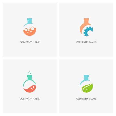 balanza de laboratorio: Las pruebas de laboratorio vector logo tubo. laboratorio botella con burbujas, rueda dentada y hoja verde - iconos de la ciencia, la tecnología, la investigación y la ecología.