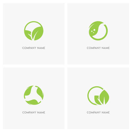 agro: Green leaves and ecology vector logo. Fresh leaf in circle, green sprout or plant, balance in nature - spring, eco and environment icons.