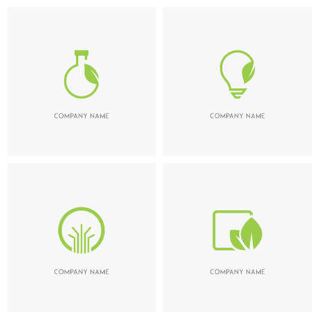 Ecology and nature vector logo. Test tube and electric bulb with leaf, abstract tree symbol in the circle and fresh green leaves - spring, eco and environment icons.