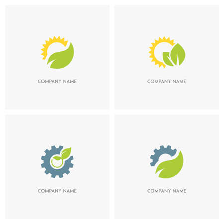 agro: Nature, industry and ecology vector logo. The sun with leaves, gear wheel with the sprout and pinion with green fresh leaf - technology, environment and eco icons.