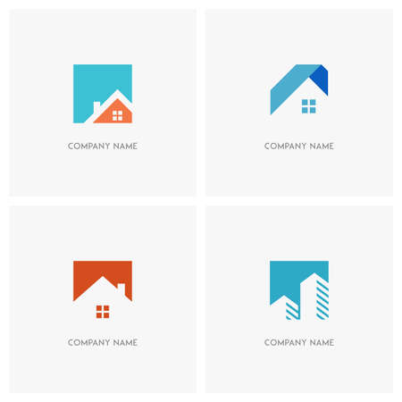 Real estate vector logo. Home with window and chimney, simple house symbol, skyscrapers or arrows on the square background - realty, building, city and megalopolis icons.