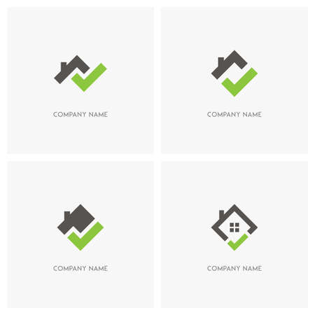 Real estate with check mark vector logo. Home with window and chimney on the roof, house with tick or checkmark symbol - realty icons.