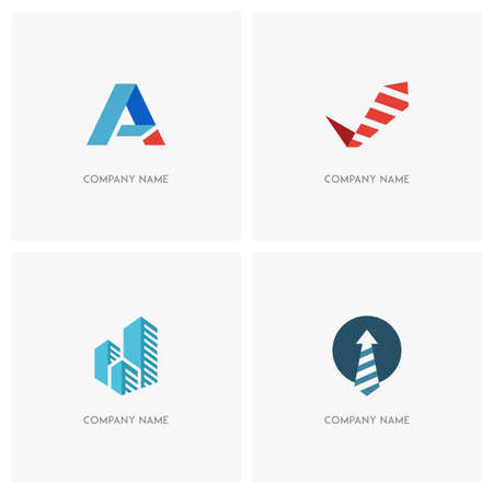 checkmark: Business vector logo set. Tie and checkmark, necktie and arrow, blue skyscrapers and first letter of the alphabet - job, success and abstract icons.