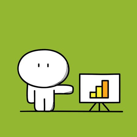 Cute funny man at work with graph or diagram on the board on the green background. Business presentation - cartoon vector illustration.