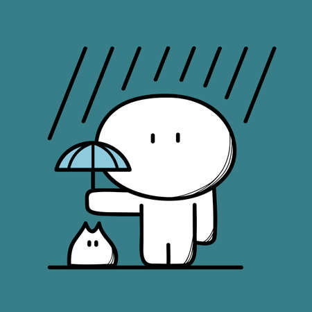 goodness: Cute man takes care of pet with umbrella under the heavy rain on the blue background. Friendship and kindness - cartoon vector illustration. Illustration