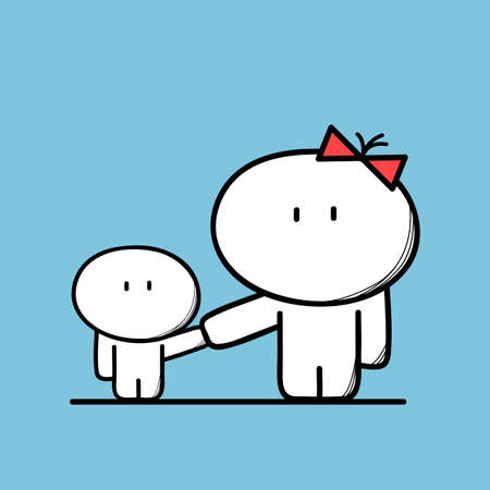 single mother: Cute mom and a child on the blue background. Incomplete family, Single mother with kid - cartoon vector illustration.