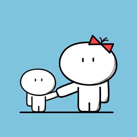 madre soltera: Mama linda y un niño en el fondo azul. familia incompleta, madre soltera con niño - ilustración vectorial de dibujos animados.