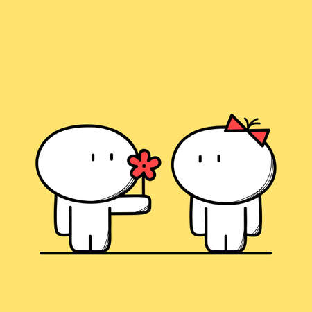 Cute man gives a flower to the woman on the yellow background. Love and relationships - cartoon vector illustration.
