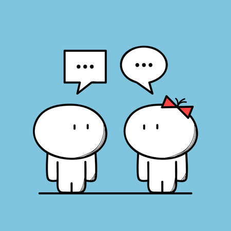Cute man talks to a woman with chat symbols on the yellow background. Conversation and relationships - cartoon vector illustration.
