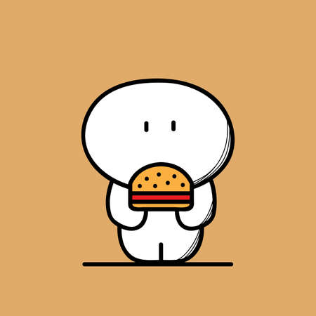 plump: Cute funny fat and plump man with burger or sandwich on the brown background. Weight and fast food - cartoon vector illustration.