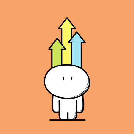 resourceful: Cute funny and smart man with colored arrows above the head on the orange background. Resourceful, creative and intelligent - cartoon vector illustration.