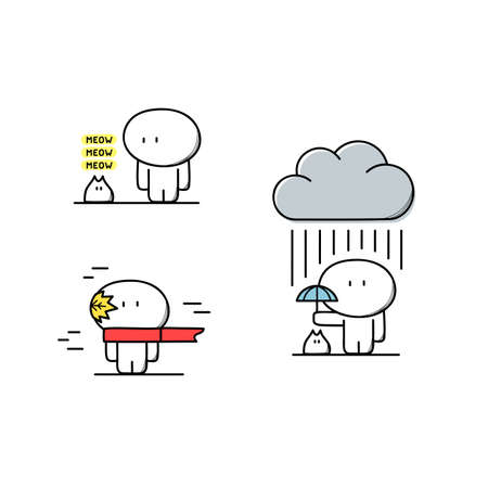 Cute man takes care of pet or kitty, with umbrella under the rain and cloud, in scarf on the wind with the leaf. Autumn, fiendship and kindness - cartoon vector illustration.