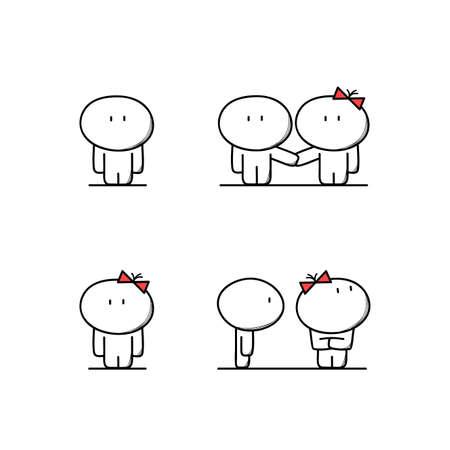 Hombre lindo y mujer juntos y por separado, chico y chica joven en el amor, el marido y la mujer tienen una pelea o riña. Relaciones, familia, amor, el argumento y el divorcio - ilustración vectorial de dibujos animados.