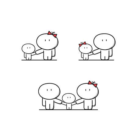 madre soltera: lindo de la madre y el padre solo con un niño, la familia completa con un niño. Los padres, mamá y papá con niños y niñas - ilustración vectorial de dibujos animados.