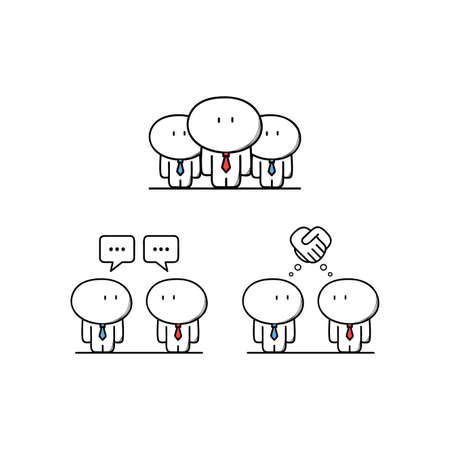 discussion: Cute businessman and colleagues, conversation or talk, business partners make a deal. Teamwork, discussion and handshake - cartoon vector illustration.