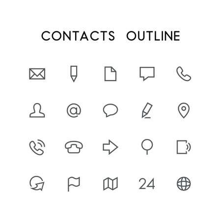 mail man: Contacts outline icon set - envelope, pencil, document, phone, chat, mail, man, arrow, globe, map, address and others simple vector symbols. Website and business signs. Illustration